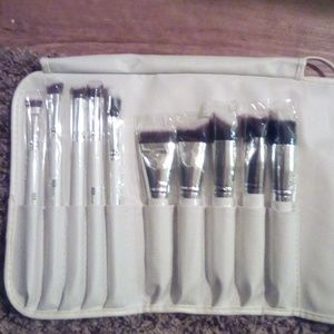 Makeup brush set leather.